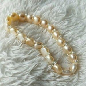 Genuine Pearls CREAM Stretch Elegant Bracelet